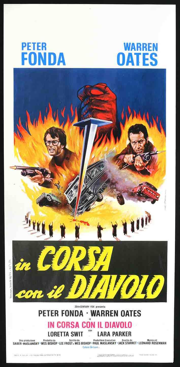 """In Corsa con il diavolo"""" (Race with the devil), Jack Starrett. Locandina italiana cinematografica 1975"""