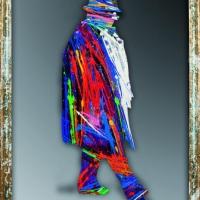Federico Fellini, olio e acrilico su specchio