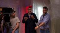 Il set di La porta sul buio con il regista Marco Cassini ed il sindaco di Pescara