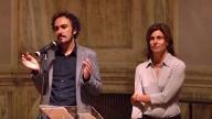 il regista Alessandro Aronadio con la produttrice Costanza Coldagelli alla presentazione di Orecchie - Ears