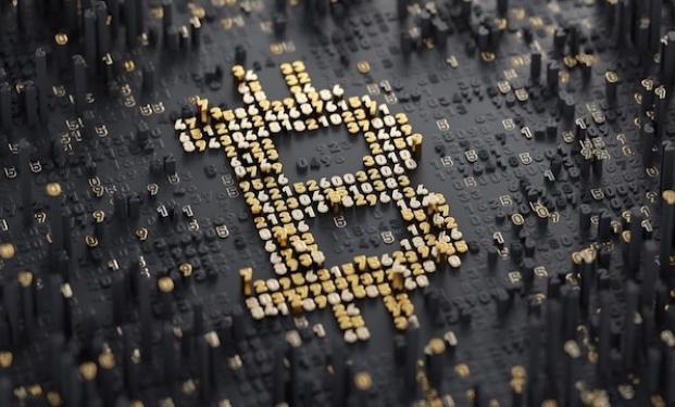 L'immagine della moneta digitale dal sito Bitcoin.com