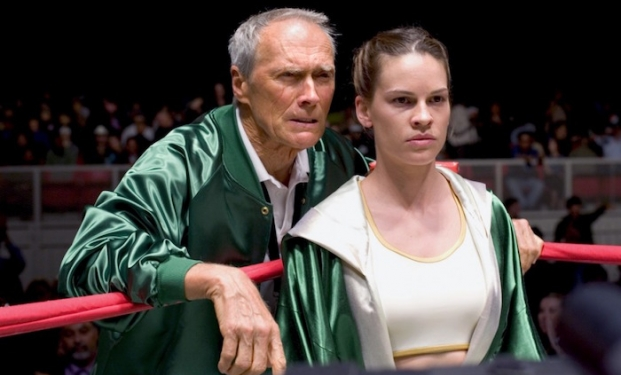 Hilary Swank con Clint Eastwood in Million Dollar Baby