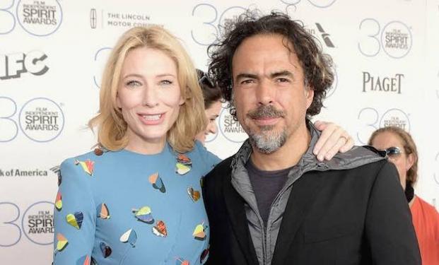 "Cate Blanchett con Alejandro González Iñárritu ai premi ""Spirit"" 2015"