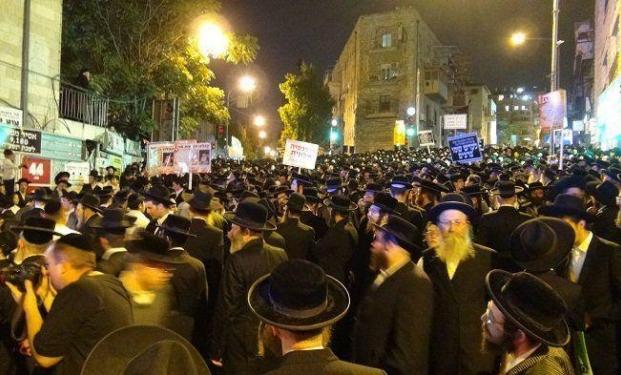 La protesta degli ebrei ultra-ortodossi