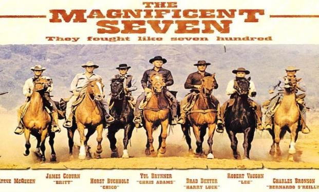 La locandina del 1960 dei Magnifici sette