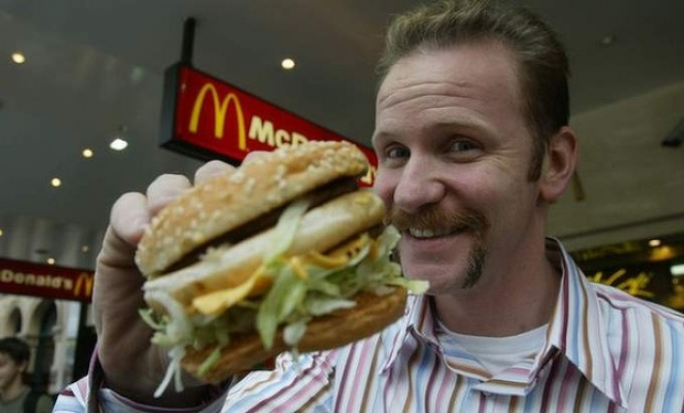 "with reference to morgan spurlocks supersize The film ""super size me"" is a 2004 part documentary film, part health experiment  directed by and featuring american indie filmmaker, morgan spurlock."