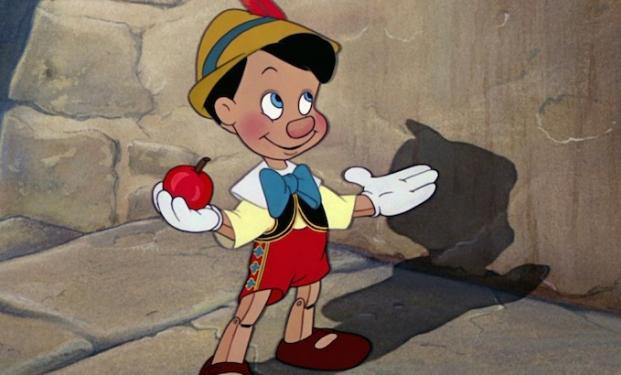 Il burattino Pinocchio nell'animazione Disney del 1940