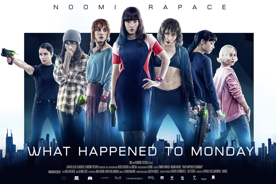 """What Happened to Monday"" (Seven Sisters) (G.B./Usa/Norvegia 2017), Tommy Wirkola. Netflix original U.S. advertising"